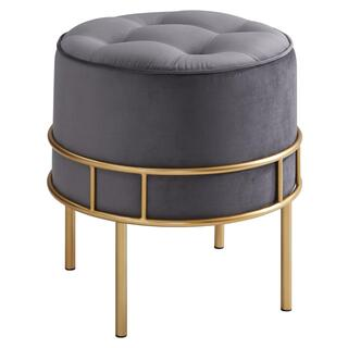 Lorient Velvet Fabric Tufted Round Ottoman, Serene Dark Gray/ Gold