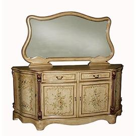 Sideboard With Mirror. Yellow With Painted Floral Design. ST.SIDEBOARD #47013.MIRROR #47014