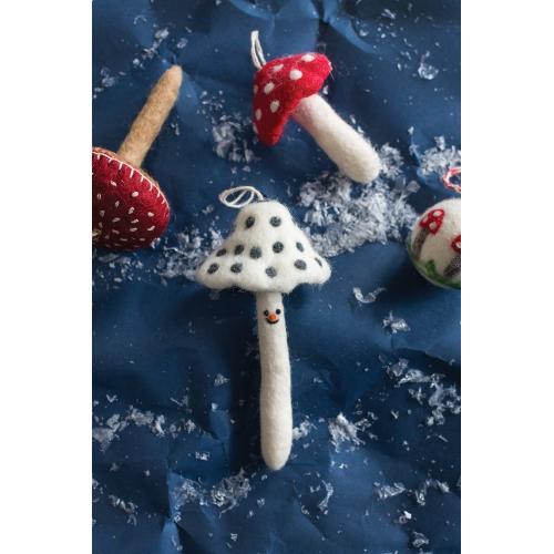 """3""""x 6.25"""" White Fun Fungi Ornament (Smiling Option)"""