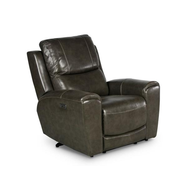Laurel Dual-Power Leather Recliner Chair, Grey