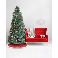 "Home for the Holiday Qy410 Red 48"" X 48"" Round Tree Skirt"