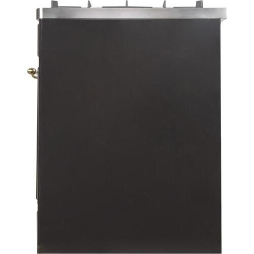 Ilve - Majestic II 30 Inch Dual Fuel Liquid Propane Freestanding Range in Glossy Black with Brass Trim