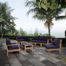 Marina 9 Piece Outdoor Patio Teak Set in Natural Navy