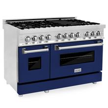"""See Details - ZLINE 48"""" Professional Dual Fuel Range in Stainless Steel with Color Door Options (RA48) [Color: Blue Gloss]"""