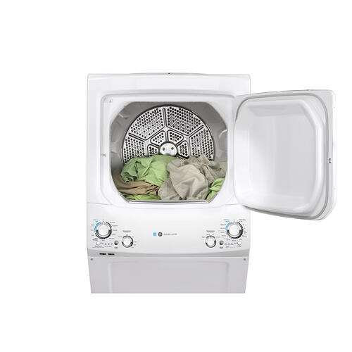 GE Unitized Spacemaker® 3.9 DOE cu. ft. Capacity Washer and 5.9 cu. ft. Capcity Electric Dryer White - GUD27EEMNWW