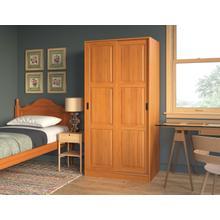 5664 - 100% Solid Wood 2-Sliding Door Wardrobe - Honey Pine