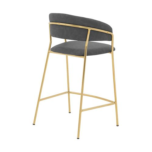 """Armen Living - Nara 26"""" Modern Counter Height Bar Stool with Gold Metal Finish and Gray Faux Leather"""
