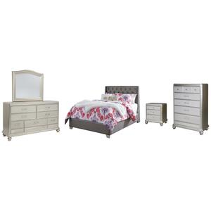 Ashley - Full Upholstered Bed With Mirrored Dresser, Chest and Nightstand