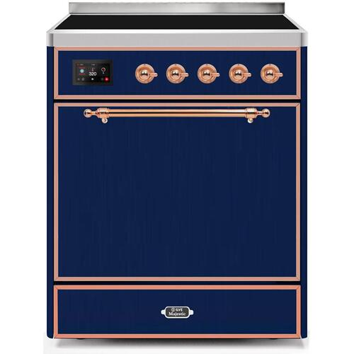 Majestic II 30 Inch Electric Freestanding Range in Blue with Copper Trim