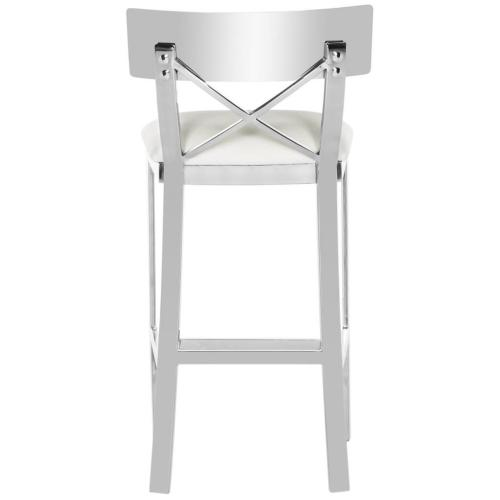 Zoey 35'' H Stainless Steel Cross Back Counter Stool - White / Chrome