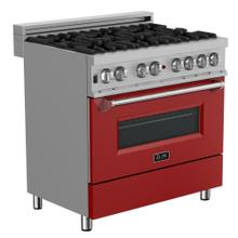 ZLINE 36 in. Professional Dual Fuel Range in Snow Stainless with Red Matte Door (RAS-RM-36)