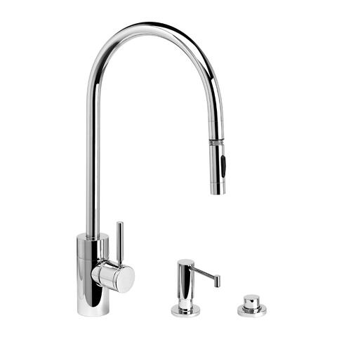 Contemporary Extended Reach PLP Pulldown Faucet 3pc. Suite - 5300-3 - Waterstone Luxury Kitchen Faucets