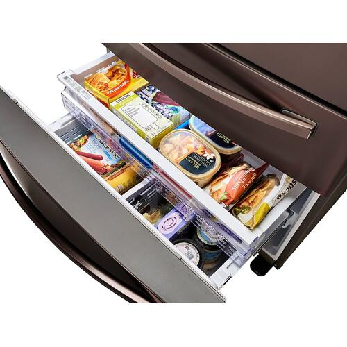 23 cu. ft. Counter Depth 4-Door French Door Refrigerator with FlexZone™ Drawer in Tuscan Stainless Steel