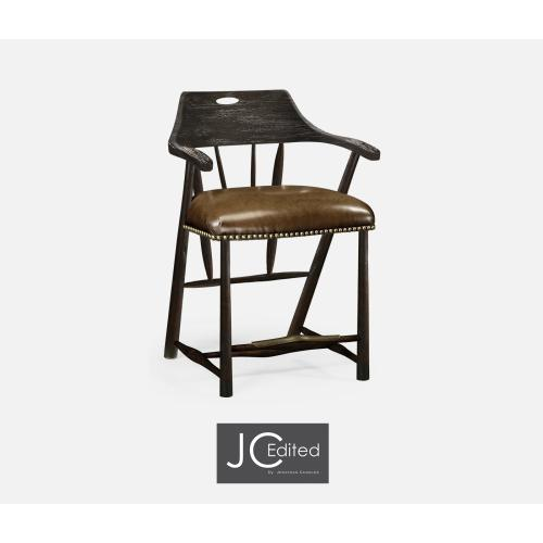 Smokers Style Dark Ale Counter Stool with Dark Antique Chestnut Leather