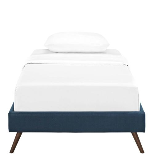Loryn Twin Fabric Bed Frame with Round Splayed Legs in Azure