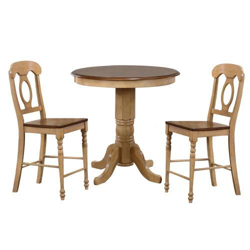 Brook Round Pub Table Set w/Napoleon Stools (3 piece)