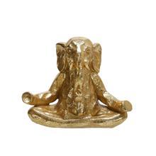"See Details - Polyresin 8"" Meditating Elephant, Gold"