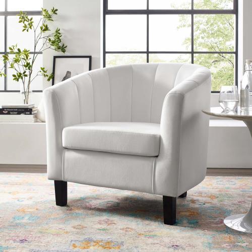 Prospect Channel Tufted Performance Velvet Armchair in White