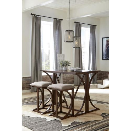 Gallery - Amberleigh Folding Bar Table and Two Stools Set, Brown