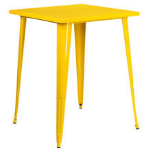 "Commercial Grade 31.5"" Square Yellow Metal Indoor-Outdoor Bar Height Table"
