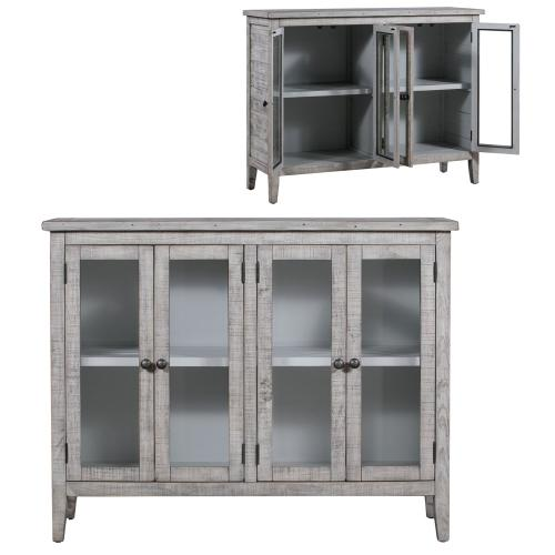 Crestview Collections - Pembroke Plantation Recycled Pine White Wash 4 Door Tall Sideboard