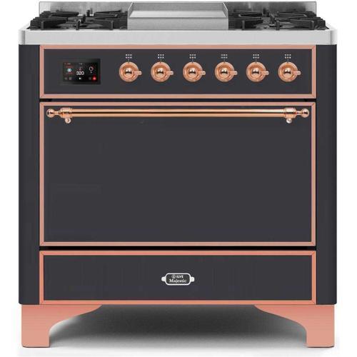 Ilve - Majestic II 36 Inch Dual Fuel Natural Gas Freestanding Range in Matte Graphite with Copper Trim