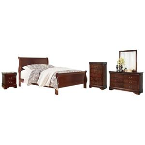 King Sleigh Bed With Mirrored Dresser, Chest and Nightstand