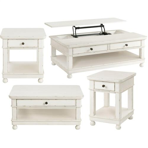 Bella Grigio - Lift-top Coffee Table - Chipped White Finish