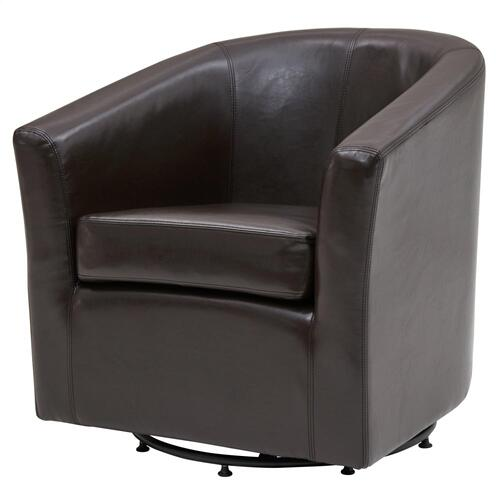 Hayden SWIVEL Bonded Leather Accent Arm Chair, Brown