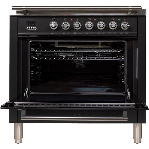 Ilve - Professional Plus 36 Inch Gas Natural Gas Freestanding Range in Matte Graphite with Chrome Trim