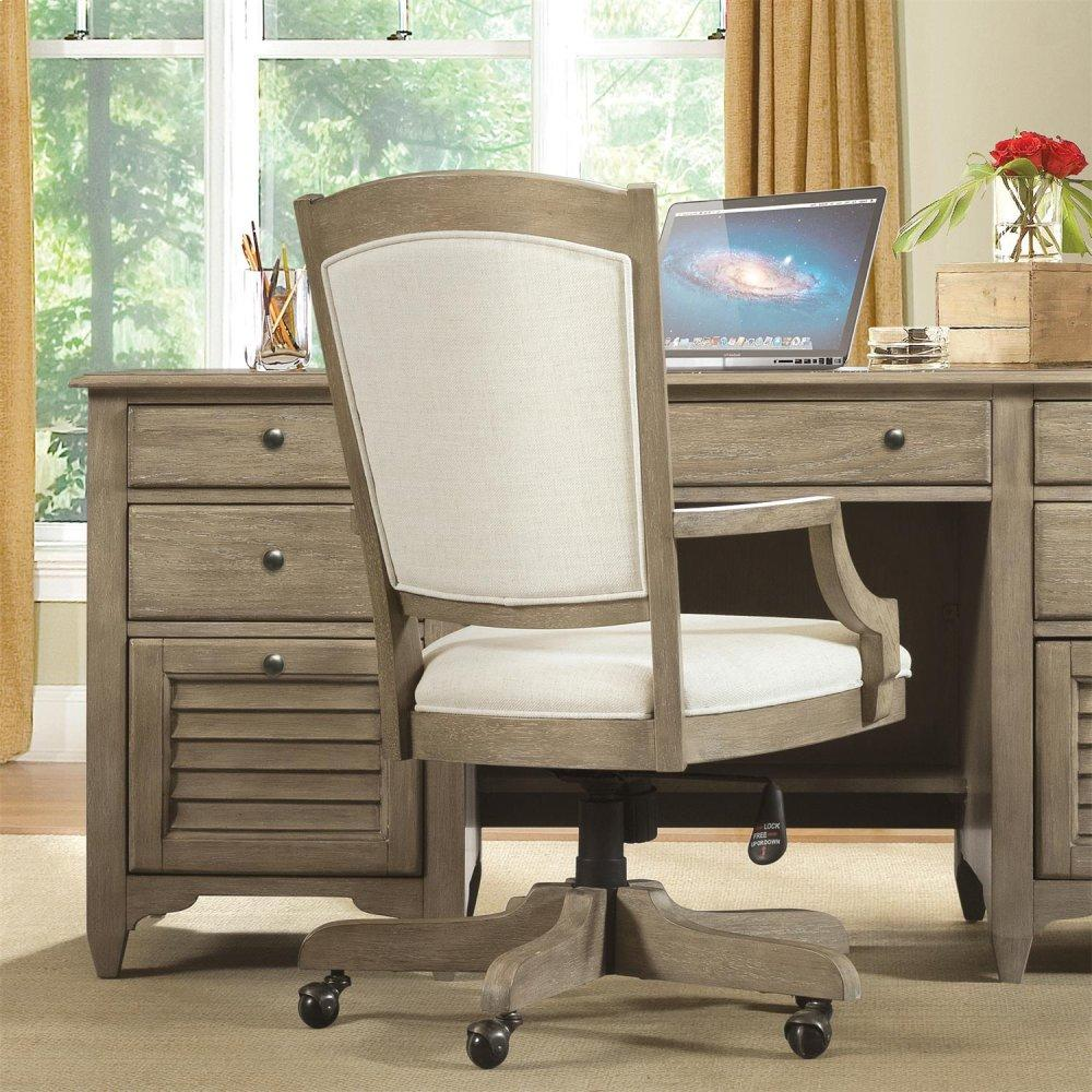 See Details - Myra - Upholstered Desk Chair - Natural Finish