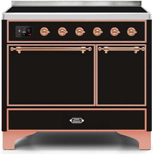 Majestic II 40 Inch Electric Freestanding Range in Glossy Black with Copper Trim