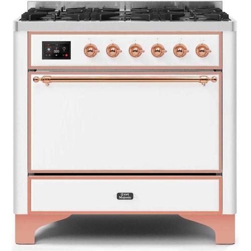Product Image - Majestic II 36 Inch Dual Fuel Natural Gas Freestanding Range in White with Copper Trim