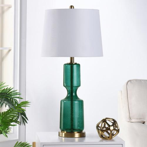 SEEDED EMERALD  31in X 15in  Glass and Steel Table Lamp with Antique Brass Base