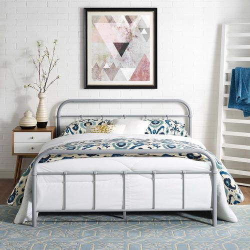 Modway - Maisie Queen Stainless Steel Bed Frame in Gray