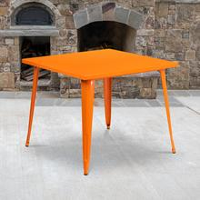 "Commercial Grade 35.5"" Square Orange Metal Indoor-Outdoor Table"
