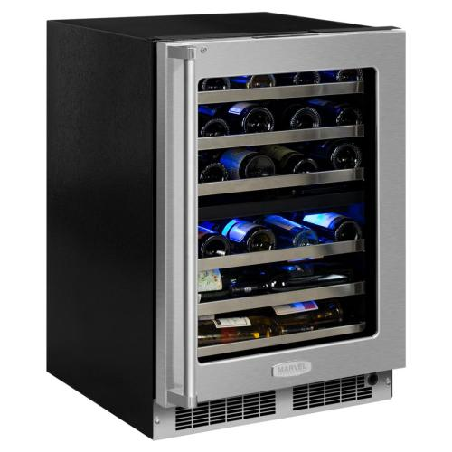 "Marvel Professional 24"" High Efficiency Dual Zone Wine Refrigerator - Stainless Frame, Glass Door With Lock - Integrated Left Hinge, Professional Handle"