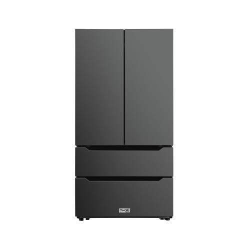 Product Image - Thor Kitchen - 22.5 Cu. Ft. 4-door French Door Refrigerator With Recessed Handle In Black Stainless Steel, Counter Depth