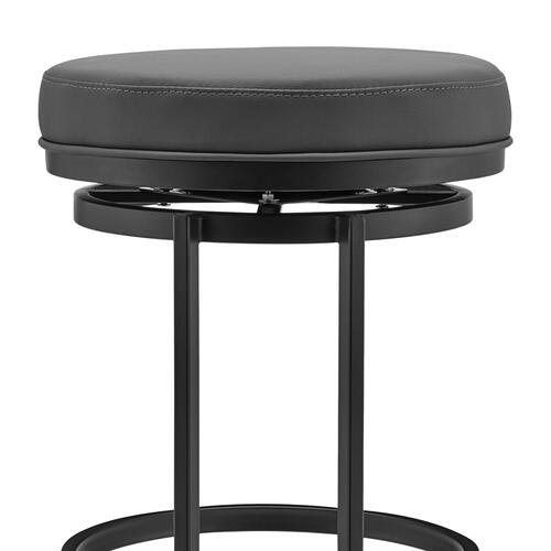 "Vander 26"" Gray Faux Leather and Black Metal Swivel Bar Stool"