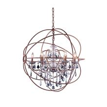 Geneva 6 light Rustic Intent Chandelier Silver Shade (Grey) Royal Cut crystal