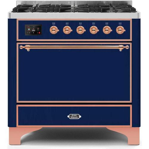 Majestic II 36 Inch Dual Fuel Natural Gas Freestanding Range in Blue with Copper Trim