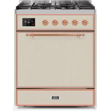 Majestic II 30 Inch Dual Fuel Natural Gas Freestanding Range in Antique White with Copper Trim