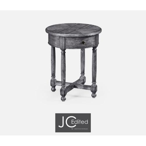 Antique Dark Grey Parquet Round Side Table for Contrast Inlay