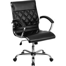 View Product - Mid-Back Designer Black LeatherSoft Executive Swivel Office Chair with Chrome Base and Arms