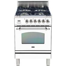 Nostalgie 24 Inch Gas Natural Gas Freestanding Range in White with Chrome Trim