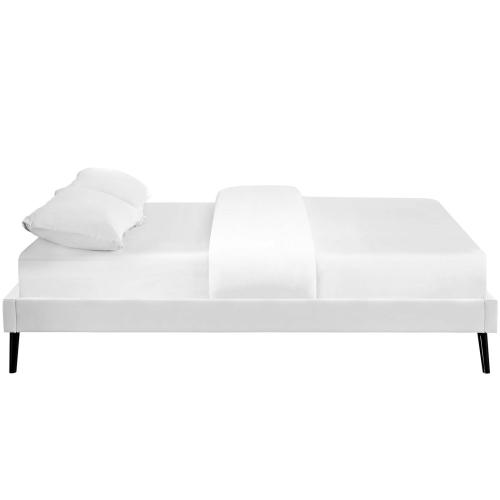 Loryn Queen Vinyl Bed Frame with Round Splayed Legs in White