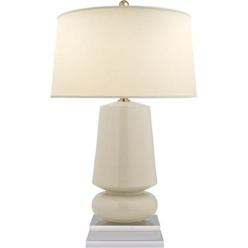Visual Comfort CHA8668ICO-PL E. F. Chapman Parisienne 29 inch 150 watt Coconut Porcelain Table Lamp Portable Light, E.F. Chapman, Small, Natural Percale Shade