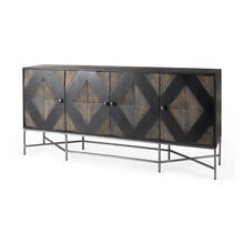 Hogarth I 72x15 Two-Tone Brown Solid Wood Base Silver Frame 4 Cabinet Sideboard