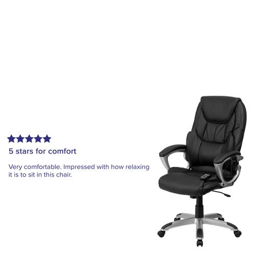 Gallery - High Back Folding Black LeatherSoft Executive Swivel Office Chair with Arms