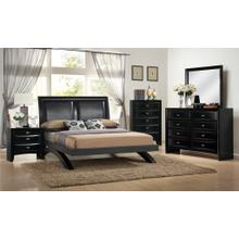 Blemerey 110 Black Wood Arch-Leg Bed Group KING AND QUEEN Bed Dresser Mirror Night Stand Chest, King